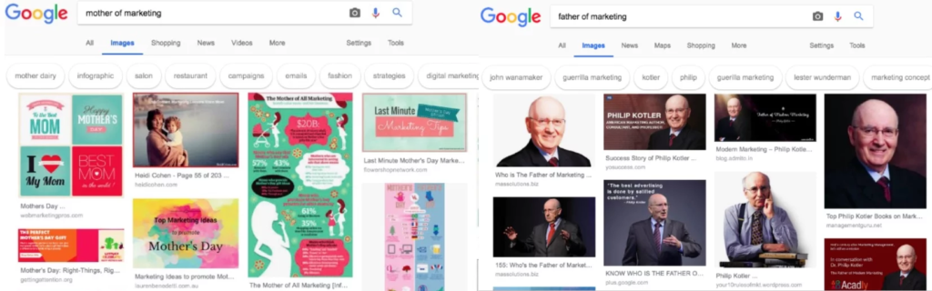 an image comparing the results of 2 web searches: 'mother of marketing' and 'father of marketing'